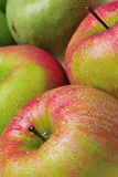Apples. Close-up of green delicious apples with drops royalty free stock image
