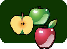 Apples. Stylized icon of three apples, vector illustration Stock Images
