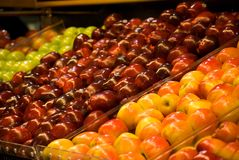 Apples. Apple stand with several varieties of apples Stock Image