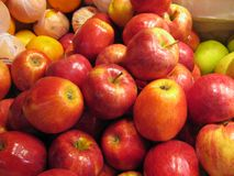 Apples. Red apples close up at the market stock photography