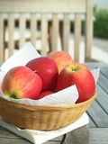 Apples. In a wicker basket on an outdoor table Stock Photo