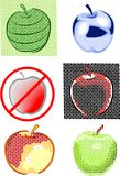 Apples. Six different apples on a white background, there is a vector Vector Illustration