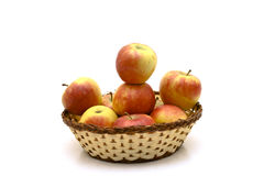 Apples. Healthy apples in the basket stock images