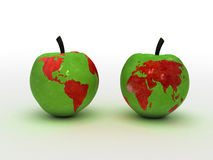Apples. Two apples, with map of the world on that ones Royalty Free Stock Image