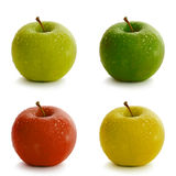 Apples. Fresh apples in various colors with water drops Royalty Free Stock Image