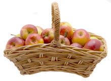 Apples. Basket with Apples isolated on white background Stock Photos