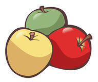 Apples. Illustration of three apples (one yellow, one green and one red) on white background - Isolated object Royalty Free Stock Photography