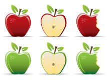 Apples. Set of red and green apples Royalty Free Stock Images