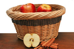 Apples And Cinnamon And Basket Royalty Free Stock Image