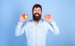 Apples antioxidant compounds responsible health benefits. Nutritional choice. Man with beard hipster hold apple fruit in. Hand. Apples popular type fruit in royalty free stock photos