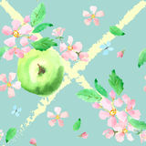 Apples and apple blossoms. Seamless texture. Romantic, tender, w stock illustration