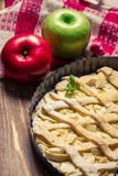 Apples and apple cake with icing sugar Stock Image