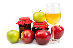 Apples and apple desserts. On white background royalty free stock image