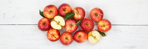 Apples apple fruit fruits banner red top view Royalty Free Stock Photo
