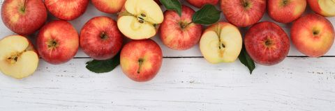 Apples apple fruit fruits red banner copyspace top view Royalty Free Stock Photos