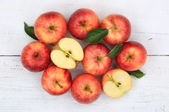 Apples apple fruit fruits red top view Royalty Free Stock Photos