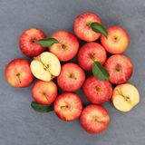 Apples apple fruit fruits square slate red top view Stock Photo