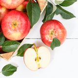 Apples apple fruits fruit from above square autumn fall box. Eating royalty free stock photography