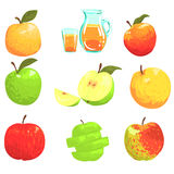 Apples And Apple Juice Cool Style Bright Illustrations Stock Image