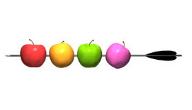 Apples on arrow. Vitamin set. Apples on arrow. 3d image stock illustration