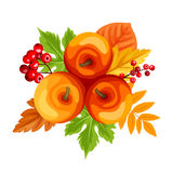 Apples and autumn leaves. Vector illustration. Royalty Free Stock Photography