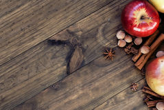 Apples autumn varieties and chinamon royalty free stock photos