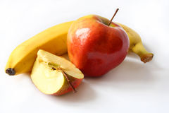 Apples and banana Stock Photos