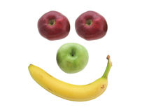 Apples and banana. Smiling fruit Royalty Free Stock Image
