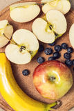 Apples banana, blueberry. Apples , banana, blueberry royalty free stock photography