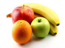 Apples, bananas and orange Stock Photography