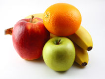 Apples, bananas and orange Stock Images