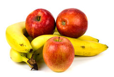 Apples and bananas on a white background.  Stock Photo