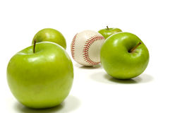 Apples and a Baseball Royalty Free Stock Photos