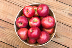 Apples in a Basket. Red apples in wooden basket viewed from above Royalty Free Stock Images