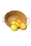 Apples in a Basket. Apples in a n overturned basket on a white background Royalty Free Stock Images