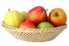 Apples in Basket. Color apples in basket on white background Stock Photography