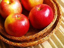 Apples in the basket. Ripe red apples in the basket Royalty Free Stock Photos