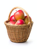 Apples in basket. Ripe apples in basket on a white background Royalty Free Stock Photos
