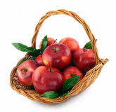 Apples in basket,. Red apples in basket, on white background royalty free stock image
