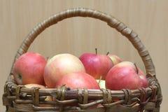 Apples in basket closeup Royalty Free Stock Photos