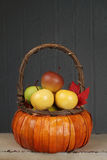 Apples in Basket, Fall or Thanksgiving Theme Royalty Free Stock Photo