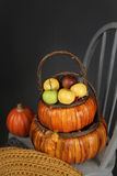 Apples in Basket, Fall or Thanksgiving Theme Royalty Free Stock Image