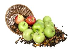 Apples in basket with grains  isolated on white Stock Photo