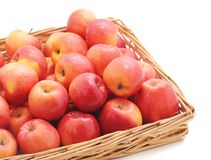 Apples in the basket. On a white background stock photo