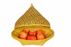 Apples in basket and lid Royalty Free Stock Images
