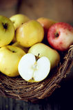 Apples in the basket. Over wooden background Stock Image