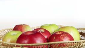 Apples in basket stock video footage