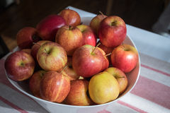 Apples in basket on table. Royalty Free Stock Photography