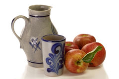 Apples with beaker and jug Royalty Free Stock Photo