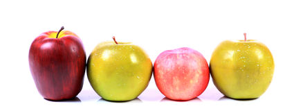 Apples. Beautiful shot of different types of apples on white background Royalty Free Stock Images